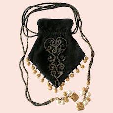 Aurientis Opulent Drawstring Purse, 1980s: Black Suede, Gilt Braid, Filigree & Faux Pearl Tassels