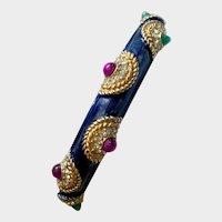 Boucher Mogul-Style Jeweled & Enameled Bangle Bracelet