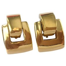 Ciner 'Gold Brick' Door Knocker Earrings, 1980s