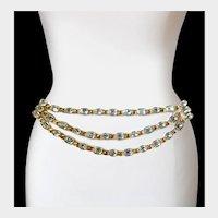 Ultra-Glitzy Swarovski Crystal & Rich Gilt Chains 'Swag' Belt, 1980s