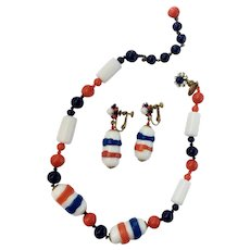 Haskell Patriotic-Nautical Art Glass Necklace & Dangle Earrings Set