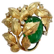 Reserved for Susan: Jomaz Faux Flawed Emerald 'Berry' & Gilt Leaves Brooch