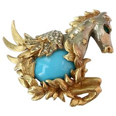 KJL Kenneth Jay Lane Iconic Jeweled Pegasus Brooch, 1960s: Book Pc.