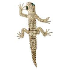 Articulated Diamanté Shoulder Lizard Brooch a la Butler & Wilson