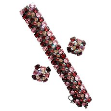 Signed Schreiner Ravishing Red-and-Pink, Aurora Borealis Crystal Bracelet & Earrings Set