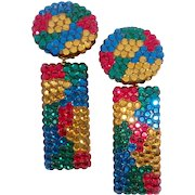 Richard Kerr Glittery Geometric Deco-Style Drop Earrings with Primary Colors