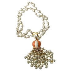 Kenneth Lane 1970s Faux Pearl Necklace with 'Onion Dome' Tassel