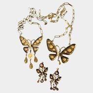 Pop Art Dangly Butterflies Double Necklaces and Earrings Set, with Peach Enamel Dots