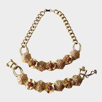 Victorian Revival Flower and Filigree Necklace & Bracelet Set, Unsigned Kafin