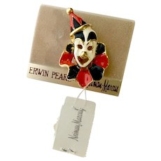 Black-Red Enamel 'Clown Face' Brooch: Erwin Pearl for Neiman Marcus, Orig. Card & Tag