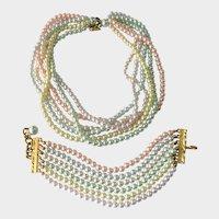Joan Rivers Multi-Pastel Faux Pearl Huge Necklace and Bracelet Demi