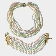 Joan Rivers Multi-Pastel Faux Pearl Huge Necklace and Bracelet Demi