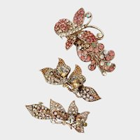 Trio Glitzy Floral & Butterfly French Hair Barrettes, 1990s