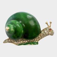 Enameled & Rhinestone-Encrusted Green Snail Brooch, Early K.J.L. Kenneth Jay Lane, 1960s