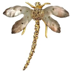 Alexis Bittar Hand-Painted, Hand-Sculpted and Jeweled Lucite Dragonfly Brooch