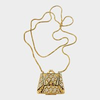 Glitter & Enamel 'Quilted' Mini-Purse Pendant Necklace Signed CRAFT