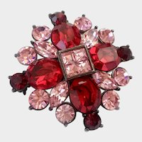 Givenchy Faux Rubies-and-Pink Sapphires Maltese Cross Brooch