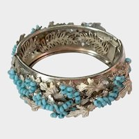 Reserved for Helen: Haskell 'Blue Wisteria' & Silvery Leaves Bangle Bracelet