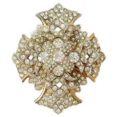 Faux Diamond Pave Layered Maltese Cross Brooch-Pendant: Early Kenneth Jay Lane