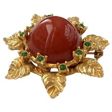 Stylized Gilt Flower Brooch with Bulbous Red Center : Judith McCann