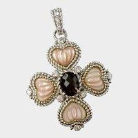 Judith Ripka Maltese Cross Pendant: Sterling, Mother-of Pearl & Topaz