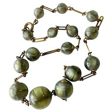 Intriguing Faux 'Cat's Eye' & Elongated Gilt Links Necklace