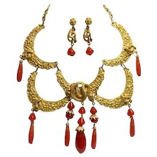 Caviness Rare, Humongous Cobra/Serpentine Collar Necklace and Earrings Set