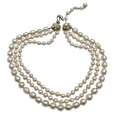 Haskell Most Classic, Lustrous Three-Strand Baroque Pearl Necklace