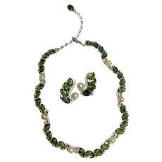 "Joseph (Jomaz) Mazer Olivine and Faux Pearl ""Fruit Salad"" Necklace & Earrings Demi"