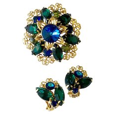 Blue & Green Fancy Rivoli & Filigree Floral Brooch and Earrings: Unsigned Austria