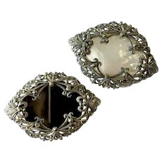 Twin (2) Victorian Revival Brooches with Sterling & Marcasite Plus Onyx & Mother-of-Pearl