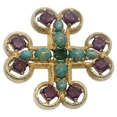 Boucher Maltese Cross Brooch-cum-Pendant Necklace with Faux Turquoise, Amethysts, Emerald