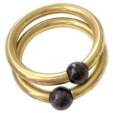 Pair (2) Modernist Brass Bangles with Large Amethyst Ball Accents