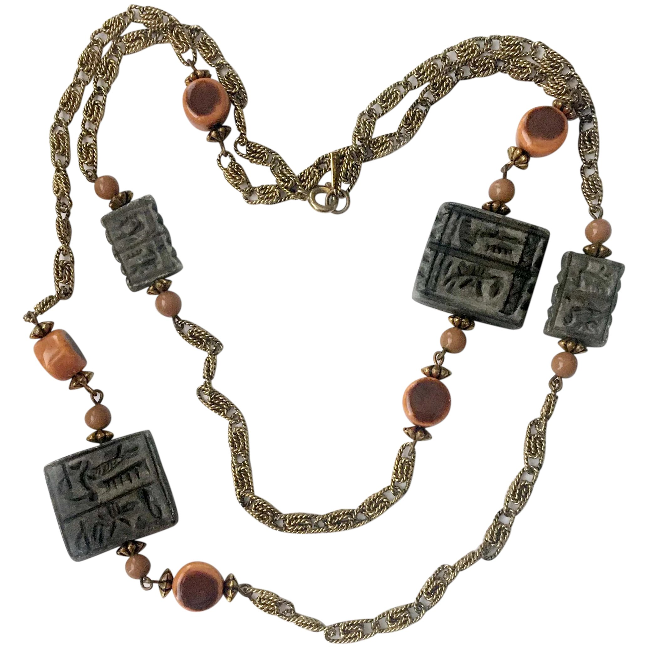Carnegie Rare Egyptian Revival Hieroglyph And Stone Beads Necklace Bellstarvintage Ruby Lane