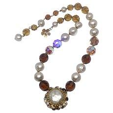 DeMario Faux Baroque Pearl & Aurora Borealis Crystal Drop Necklace