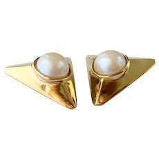 Givenchy Unusual Pyramid Earrings with Faux Pearls