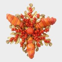 Haskell Vivid Coral Art Glass Trefoil Brooch