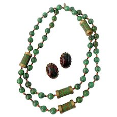 Reserved: Vrba-Designed Haskell Faux Bloodstone Chalcedony Necklace & Earrings Demi