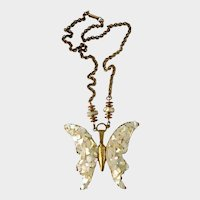 Haskell Large Iridescent Mother-of-Pearl Butterfly Necklace