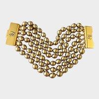 Karl Lagerfeld Wide Golden Gripoix Pearls Bracelet