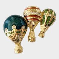 Bob Mackie Jeweled & Enameled Hot Air Balloons Brooch
