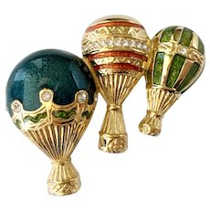 Bob Mackie Jeweled & Enameled Hot Air Balloons Brooch