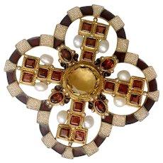 Reserved for Les: Percossi Papi Gem-Set Renaissance Revival Maltese Cross Brooch