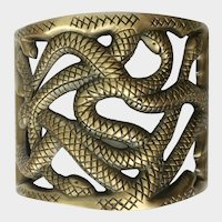Wide Nest of Snakes Gilt, Etched Bangle