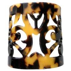 Wide Faux Tortoiseshell 'Peek-a-boo' Cuff Bracelet