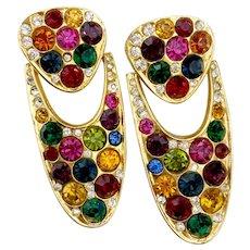 Large, Glitzy Multi-Hue Crystal Doorknocker Earrings, 1980s Blanca