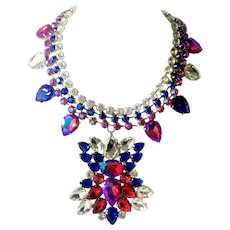 Diva's Wide, Flashy Drop Bib Necklace with Faux Tourmaline, Aurora Borealis Crystals
