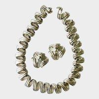 Les Bernard Modernist Chrome Finish Coil Necklace & Earrings Set