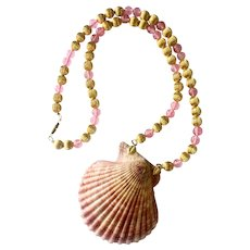 Large Genuine Sea Shell, Art Glass and Gilt Bead Necklace, 1980s