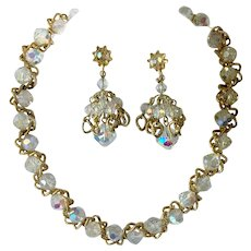 Vendome Aurora Borealis Crystal and Twisted Chain Necklace & Drop Earrings Set
